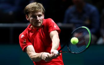 ROTTERDAM, NETHERLANDS - FEBRUARY 12:  David Goffin of Belgium returns a backhand against Robin Haase of Netherlands during Day 5 of the ABN AMRO World Tennis Tournament at Rotterdam Ahoy on February 12, 2020 in Rotterdam, Netherlands. (Photo by Dean Mouhtaropoulos/Getty Images)