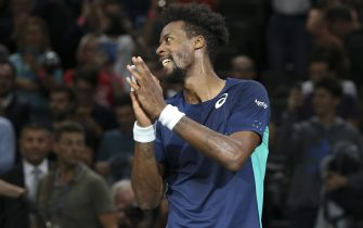 PARIS, FRANCE - OCTOBER 31: Gael Monfils of France celebrates his victory over Radu Albot of Moldova after beating him in third round during day 4 of the Rolex Paris Masters 2019, an ATP World Tour Masters 1000 at AccorHotels Arena on October 31, 2019 in Paris, France. (Photo by Jean Catuffe/Getty Images)