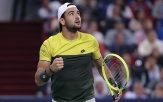 SHANGHAI, CHINA - OCTOBER 12:  Matteo Berrettini of Italy  in action during the match against Alexander Zverev of Germany in the Men's Singles Semifinal of 2019 Rolex Shanghai Masters at Qi Zhong Tennis Centre on October 12, 2019 in Shanghai, China.  (Photo by Lintao Zhang/Getty Images)