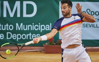 SEVILLE, SPAIN - SEPTEMBER 12: Salvatore Caruso of Italy returns a shot during his round of 16 match against Viktor Galovic of Croatia on day 3 of ATP Sevilla Challenger at Real Club Tenis Betis on September 12, 2019 in Seville, Spain. (Photo by Quality Sport Images/Getty Images)