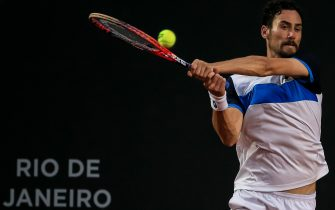 RIO DE JANEIRO, BRAZIL - FEBRUARY 23: Gianluca Mager of Italy returns a shot to Cristian Garin of Chile during the men's singles final match of the ATP Rio Open 2020 at Jockey Club Brasileiro on February 23, 2020 in Rio de Janeiro, Brazil. (Photo by Buda Mendes/Getty Images)