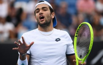 MELBOURNE, AUSTRALIA - JANUARY 22: Matteo Berrettini of Italy reacts during his Men's Singles second round match against Tennys Sandgren of the United States on day three of the 2020 Australian Open at Melbourne Park on January 22, 2020 in Melbourne, Australia. (Photo by Hannah Peters/Getty Images)