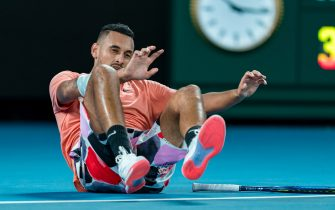 MELBOURNE, AUSTRALIA - JANUARY 27: Nick Kyrgios of Australia reacts during his Men's Singles match against Rafael Nadal of Spain on day eight of the 2020 Australian Open at Melbourne Park on January 27, 2020 in Melbourne, Australia. (Photo by Andy Cheung/Getty Images)