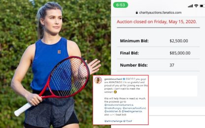 A cena con Bouchard, 85mila dollari in beneficenza