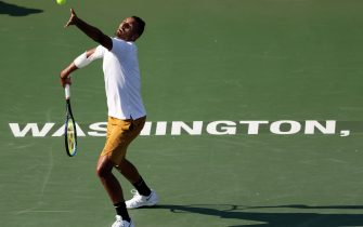 WASHINGTON, DC - AUGUST 04: Nick Kyrgios of Australia serves to Daniil Medvedev of Russia during the men's singles final of the Citi Open at Rock Creek Tennis Center on August 04, 2019 in Washington, DC. (Photo by Rob Carr/Getty Images)