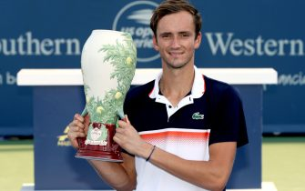 MASON, OHIO - AUGUST 18:  Daniil Medvedev of Russia poses for photographers after defeating David Goffin of Belgium during the men's final of the Western & Southern Open at Lindner Family Tennis Center on August 18, 2019 in Mason, Ohio. (Photo by Matthew Stockman/Getty Images)