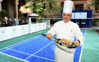 NEW YORK, NY - AUGUST 24:  Appetizers served on a tennis during the 2017  Lotte New York Palace Invitational at Lotte New York Palace on August 24, 2017 in New York City.  (Photo by Jamie McCarthy/Getty Images for LOTTE New York Palace)