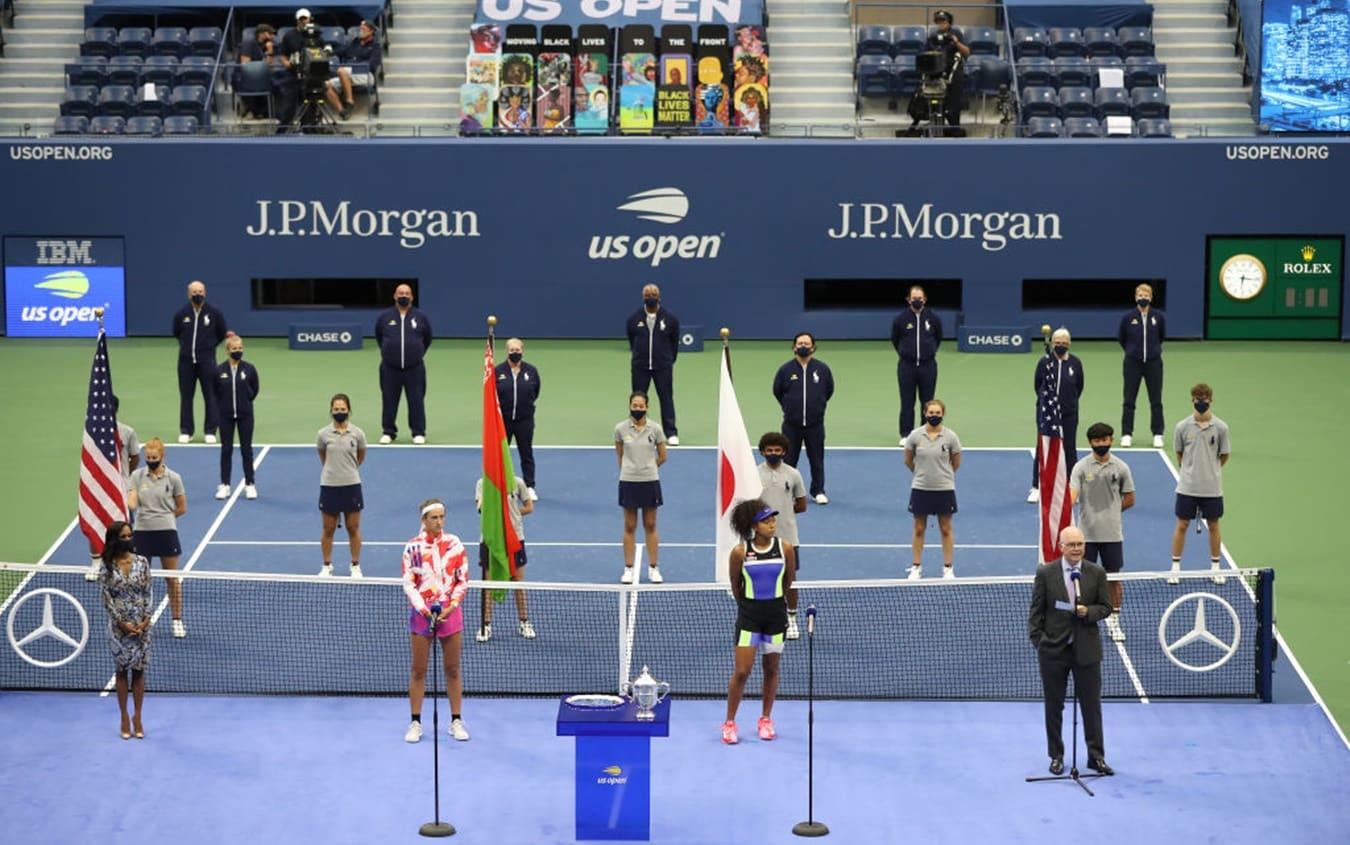 US Open, la premiazione della finale femminile