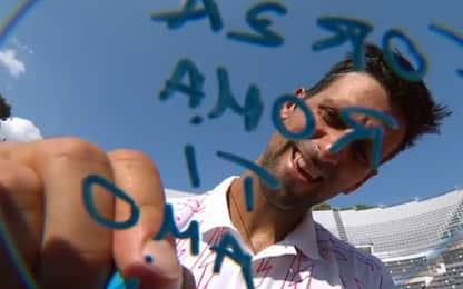 """""""Forza Roma, ti amo"""": Djokovic esulta così. VIDEO"""