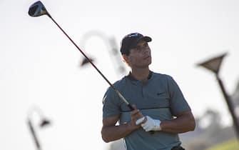 epa08769653 Spanish tennis player Rafael Nadal competes in the Balearic Golf Championship at Maioris golf club in Llucmajor, Majorca island, eastern Spain, 24 October 2020.  EPA/CATI CLADERA