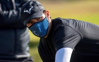 epa08772750 Spanish tennis player Rafael Nadal competes in Balearic Golf Championship at Maioris golf club in Llucmajor, Majorca island, eastern Spain, 25 October 2020.  EPA/CATI CLADERA