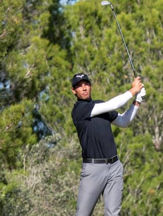 epa08772753 Spanish tennis player Rafael Nadal competes in Balearic Golf Championship at Maioris golf club in Llucmajor, Majorca island, eastern Spain, 25 October 2020.  EPA/CATI CLADERA