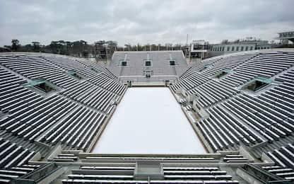 Cartoline da Parigi: neve al Roland Garros. FOTO