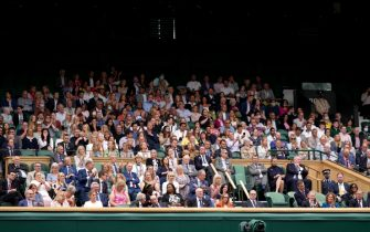 A view of the Royal Box at Centre Court, with Sir Jackie Stewart and the Duke of Kent (front left) and Hannah Ingram-Moore, daughter of Sir Tom Moore (front right) on day one of Wimbledon at The All England Lawn Tennis and Croquet Club, Wimbledon. Picture date: Monday June 28, 2021.