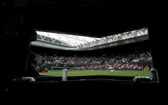 Monica Niculescu serves during her singles match against Aryna Sabalenka on court one on day one of Wimbledon at The All England Lawn Tennis and Croquet Club, Wimbledon. Picture date: Monday June 28, 2021.