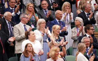 A view of guests in the Royal Box at Centre Court on day one of Wimbledon at The All England Lawn Tennis and Croquet Club, Wimbledon. Picture date: Monday June 28, 2021.