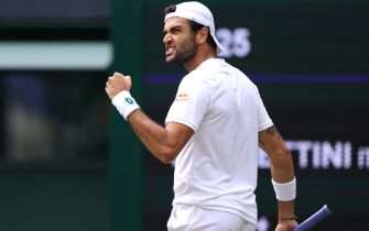 Matteo Berrettini celebrates a point against Hubert Hurkacz in the mens singles semi final match on day eleven of Wimbledon at The All England Lawn Tennis and Croquet Club, Wimbledon. Picture date: Friday July 9, 2021. (Photo by Steven Paston/PA Images via Getty Images)