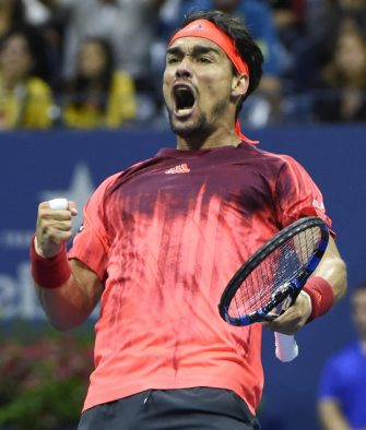 epa04913999 Fabio Fognini of Italy reacts after breaking serve from Rafael Nadal of Spain during their match on the fifth day of the 2015 US Open Tennis Championship at the USTA National Tennis Center in Flushing Meadows, New York, USA, 04 September 2015. The US Open runs through 13 September, which is a return to a 14-day schedule  EPA/JOHN G. MABANGLO