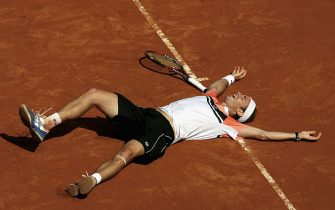 ROME - MAY 10:  Filippo Volandri of Italy celebrates match-point against Roger Federer of Switzerland  in their third round match, during the ATP Masters Series at the Foro Italico, May 10, 2007 in Rome, Italy. (Photo by Clive Brunskill/Getty Images)