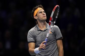 epa07995960 Dominic Thiem of Austria reacts during his round robin match against Matteo Berrettini of Italy at the ATP World Tour Finals tennis tournament in London, Britain, 14 November 2019.  EPA/WILL OLIVER