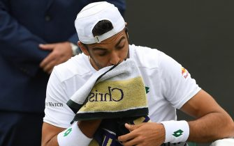 epa09312880 Matteo Berrettini of Italy reacts during the 1st round match against Guido Pella of Argentina at the Wimbledon Championships, Wimbledon, Britain 30 June 2021.  EPA/FACUNDO ARRIZABALAGA   EDITORIAL USE ONLY  EDITORIAL USE ONLY  EDITORIAL USE ONLY