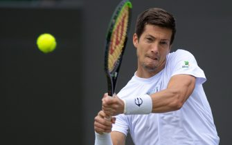 Aljaz Bedene playing against Matteo Berrettini in the third round of the Gentlemen's Singles on day six of Wimbledon at The All England Lawn Tennis and Croquet Club, Wimbledon. Picture date: Saturday July 3, 2021.