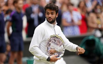 Matteo Berrettini with his runners up trophy after the Gentlemen's Singles final against Novak Djokovic on day thirteen of Wimbledon at The All England Lawn Tennis and Croquet Club, Wimbledon. Picture date: Sunday July 11, 2021.