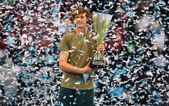 epa08820130 Jannik Sinner of Italy celebrates his victory against Vasek Pospisil of Canada at the Sofia Open ATP 250 tennis tournament final match  in Sofia, Bulgaria, 14 November 2020. EPA-EFE VASSIL DONEV  EPA/VASSIL DONEV