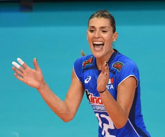 BARI, ITALY - OCTOBER 05:  Francesca Piccinini of Italy celebrates during the FIVB Women's World Championship pool E match between Italy and China on October 5, 2014 in Bari, Italy .  (Photo by Giuseppe Bellini/Getty Images for FIVB)
