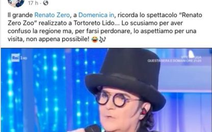 Renato Zero ricorda Tortoreto, ma la mette nelle Marche