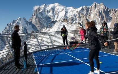 Tennis: palleggio più alto del mondo è sul Monte Bianco