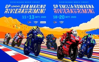 Due poster in uno per Gran Premi MotoGp di settembre a Misano