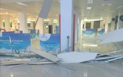 Crolla controsoffitto aeroporto Alghero, finanziere ferito