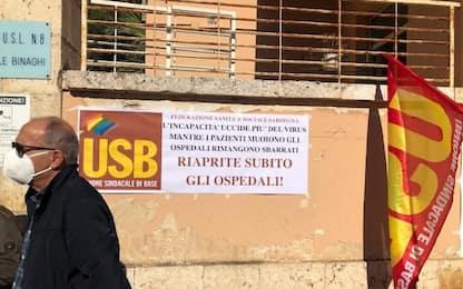 Covid: sit-in Usb, riaprire due storici ospedali di Cagliari