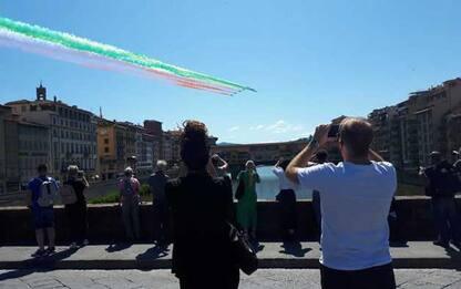 Passaggio delle Frecce Tricolori su Firenze