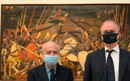 Agli Uffizi visita dei presidenti di Napoli e Empoli calcio