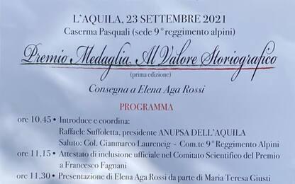 """""""Premio Medaglia al valore storiografico"""" a Elena Aga Rossi"""