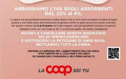 8 marzo: Coop sostiene Stop tampon tax e 'abbassa' iva al 4%