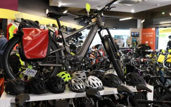 SAINT GERMAIN EN LAYE, FRANCE - MAY 13: A bicycle is seen on display in a bike shop on May 13, 2020 in Saint Germain en Laye, France. The Coronavirus (COVID-19) pandemic has spread to many countries across the world, claiming over 246,000 lives and infecting over 3.5 million people. (Photo by Pascal Le Segretain/Getty Images)