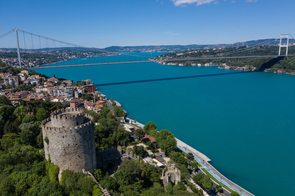 ISTANBUL, TURKEY - MAY 24: In this aerial photo from a drone, Rumeli Fortress and Bosphorus shoreline is seen empty on the first day of the Muslim holiday of Eid al-Fitr during a four-day lockdown to help stop the spread of the coronavirus on May 24, 2020 in Istanbul, Turkey. Under normal circumstances families visit the graves of loved ones on the first day of Eid , however due to the pandemic lockdowns all Eid celebrations were cancelled this year despite dropping infection rates. As of May 24, Turkey has reported 4,340 coronavirus-related deaths and 156,827 confirmed cases. (Photo by Burak Kara/Getty Images)