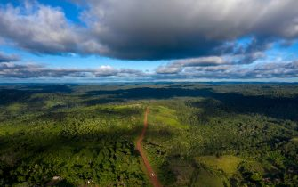 TOPSHOT - Aerial view of the Transamazonica Road (BR-230) near Medicilandia, Para State, Brazil on March 13, 2019. - According to the NGO Imazon, deforestation in the Amazonia increased in a 54% in January, 2019 -the first month of Brazilian President Jair Bolsonaro's term- compared to the same month of 2018. Para state concentrates the 37% of the devastated areas. (Photo by Mauro Pimentel / AFP)        (Photo credit should read MAURO PIMENTEL/AFP via Getty Images)