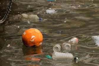 CARDIFF, UNITED KINGDOM - MARCH 11: Single use plastic bottles seen floating in polluted water near Cardiff Bay on March 11, 2018 in Cardiff, United Kingdom. (Photo by Matthew Horwood/Getty Images)