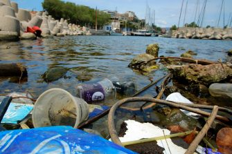 ATHENS, GREECE - JUNE 26: Plastic garbage lying on the Aegean sea beach near Athens on June 26, 2018 , Greece . The Mediterranean is one of the seas with the highest levels of plastic pollution in the world .More than 200 million tourists visit the Mediterranean each year causing the 40% increase in marine litter during summer  using  single use plastics including straws and stirrers, plastic cups, water bottles , inflatable pool toys etc which   leads to the general pollution of water and beaches along Mediterranean. (Photo by Milos Bicanski/Getty Images)