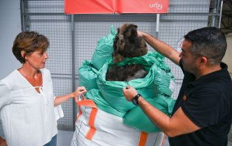 Executive director of URBY Clermont-Ferrand Marie-Laure Potec (L) and Operating manager David Mendes (R) put hairs in plastic bags collected by Capillum on August 14, 2020, in a storage in Clermont-Ferrand, central France. - Capillum is a Clermont-Ferrand based start-up specialised in hair recycling. They relayed on August 12, 2020, to its partners a call for hair donations, which can absorb hydrocarbons, to fight against the black tide in Mauritius. (Photo by PHILIPPE DESMAZES / AFP) (Photo by PHILIPPE DESMAZES/AFP via Getty Images)