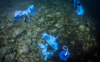 Facemasks and gloves float above the seabed of the Mediterranean, off the coast of the Lebanese city of Batroun, north of the capital Beirut, on March 3, 2020,during the novel coronavirus pandemic crisis. (Photo by Ibrahim CHALHOUB / AFP) (Photo by IBRAHIM CHALHOUB/AFP via Getty Images)