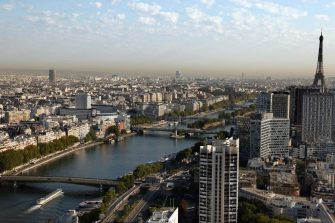 An aerial picture taken on September 15, 2020 shows western Paris, the Seine river and the Eiffel tower (C). (Photo by Thomas COEX / AFP) (Photo by THOMAS COEX/AFP via Getty Images)