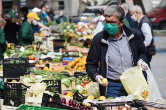 SALERNO, ITALY - MAY 18: A local market reopens on May 18, 2020 in Salerno, Italy. Restaurants, bars, cafes, hairdressers and other shops have reopened, subject to social distancing measures, after more than two months of a nationwide lockdown meant to curb the spread of Covid-19. (Photo by Francesco Pecoraro/Getty Images)