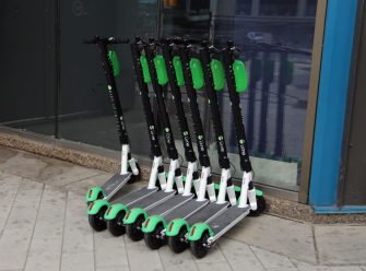 EDMONTON, ALBERTA - AUGUST 28: Lime brand scooters line the sidewalk in city centre as photographed on August 28, 2020 in Edmonton, Alberta, Canada. (Photo by Bruce Bennett/Getty Images)