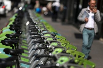 Velib bicycles are parked at a bike-sharing station in central Paris on April 1, 2019. (Photo by KENZO TRIBOUILLARD / AFP)        (Photo credit should read KENZO TRIBOUILLARD/AFP via Getty Images)