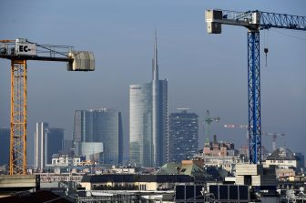 This picture taken on February 3, 2020, shows the polluted atmosphere over the Unicredit Tower skyscraper, Italys biggest bank UniCredit's headquarters at the Porta Nuova district of Milan. (Photo by Miguel MEDINA / AFP) (Photo by MIGUEL MEDINA/AFP via Getty Images)